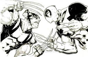 Wolverine Vs Deadpool (commission(inks))