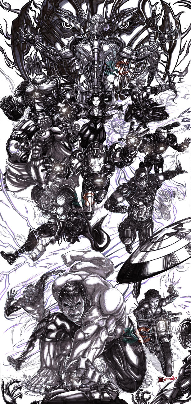 Avengers Age Of Ultron By Iloegbunam On Deviantart: Avengers Age Of Ultron (lineart) By Emmshin On DeviantArt