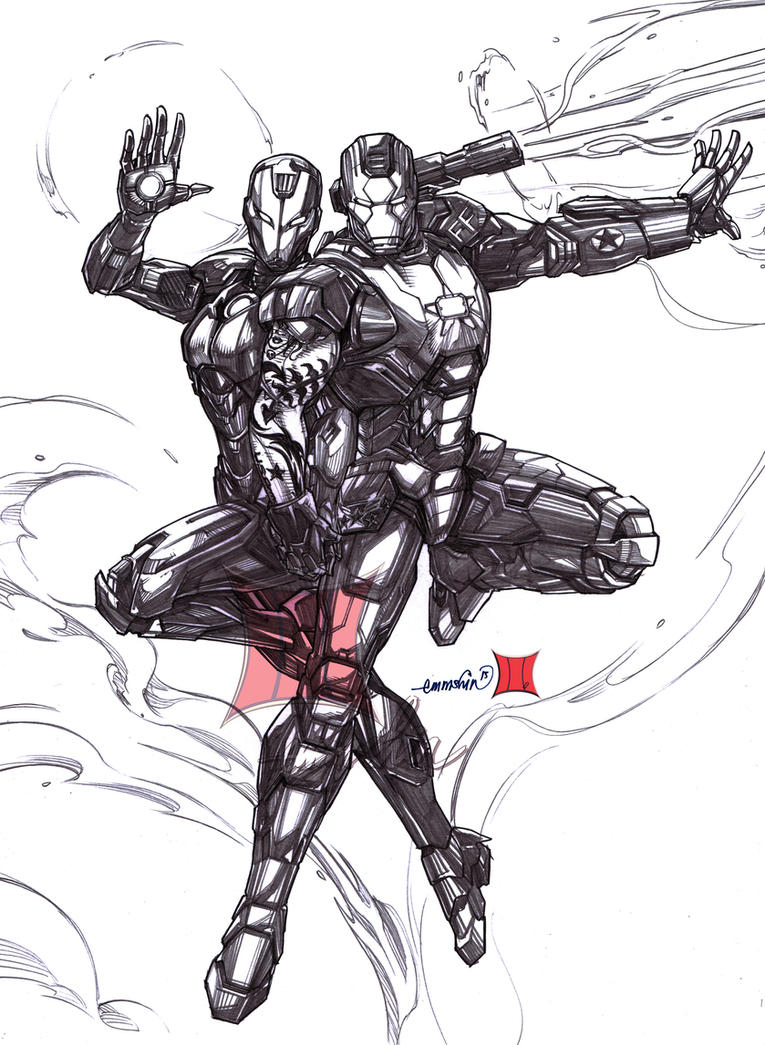 Iron Patriot and Rescue (pencils) by emmshin