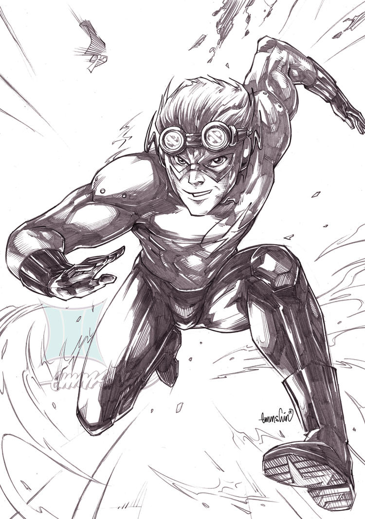 Kid Flash (pencils) by emmshin