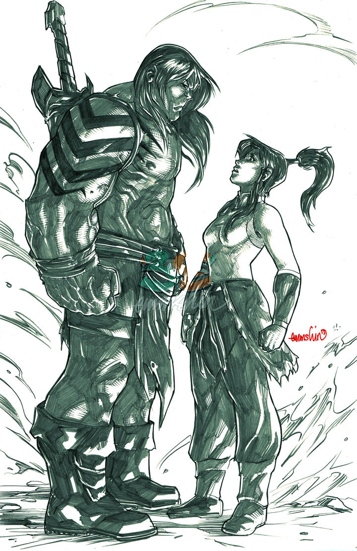 Skaar - Korra (pencils) by emmshin