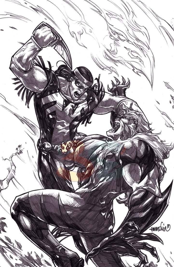 Thunderbird vs Sabretooth (pencils) by emmshin