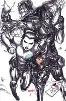 Deadpool, Negasonic and Colossus (pencils) by emmshin
