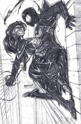 Silk n'Symbiote Spider-man (pencils) by emmshin