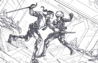 The Doctor vs Sparrowhawk (pencils) by emmshin