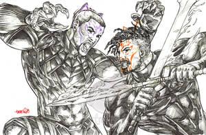 Cat Fight! (pencils) by emmshin