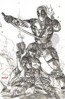 Deadpool x Hit-Girl Round 2 (pencils) by emmshin
