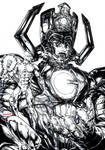 Galactus x Silver Surfer (inks) by emmshin