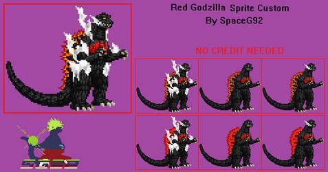 Sprite Custom - Red Godzilla by SpaceG92