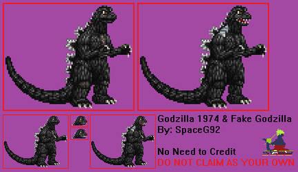 Sprite Custom - Godzilla 1974 and Fake Godzilla v2