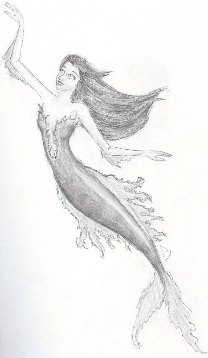 Black and White Mermaid by Eyedowno on DeviantArt