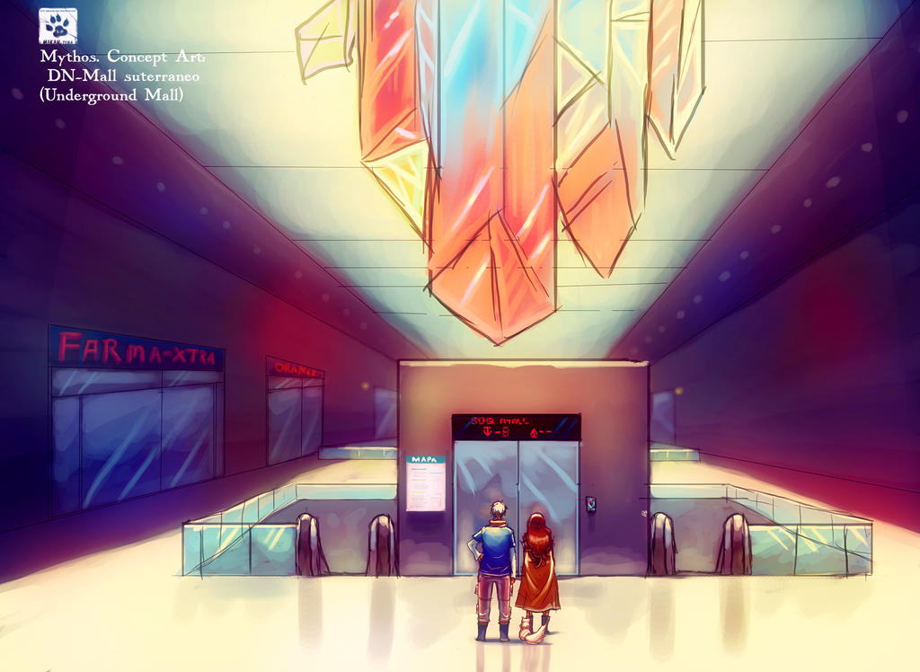Underground mall-Mythos Concept Art by Mikan-no-Tora