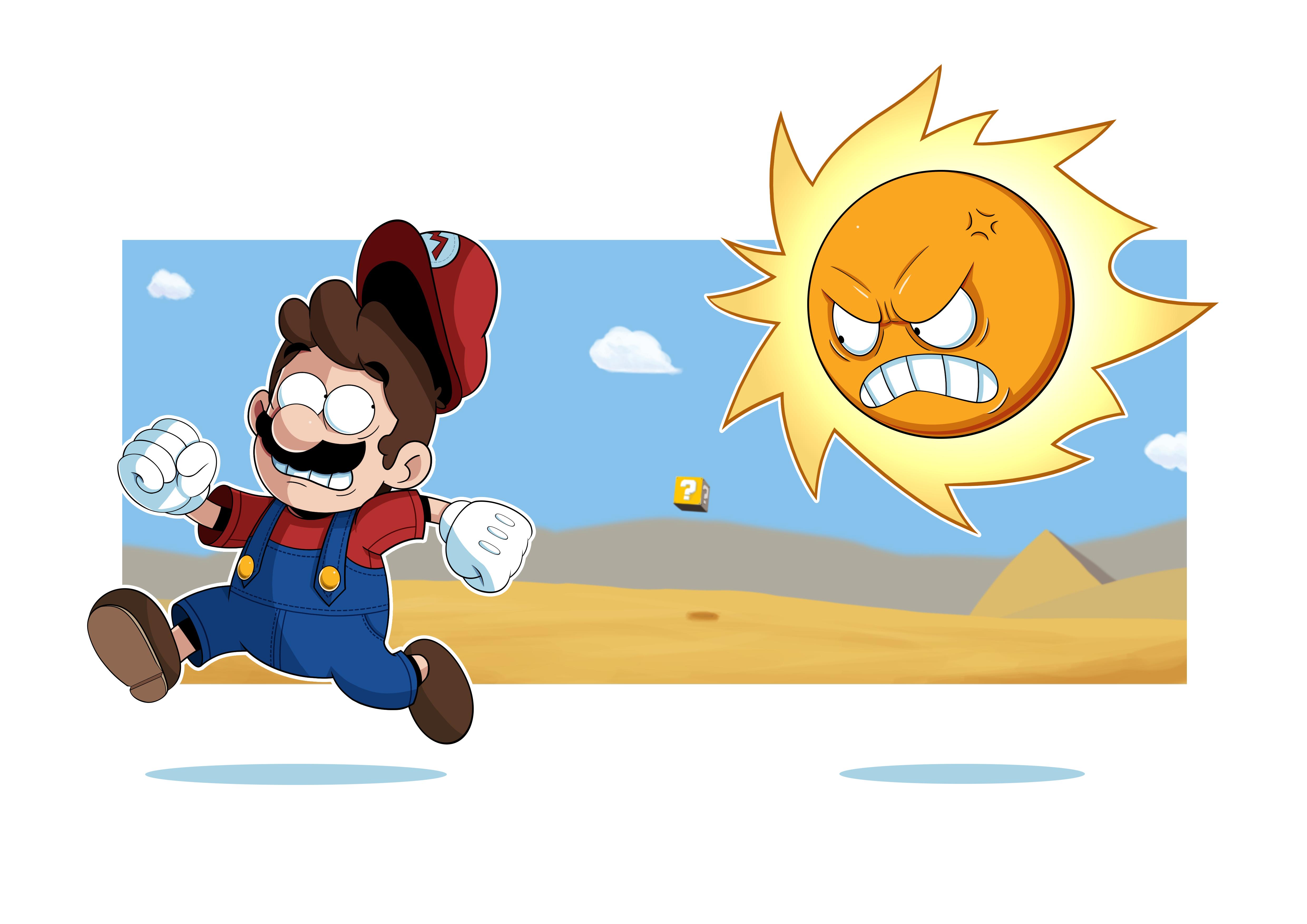 mario bros 3 angry sun
