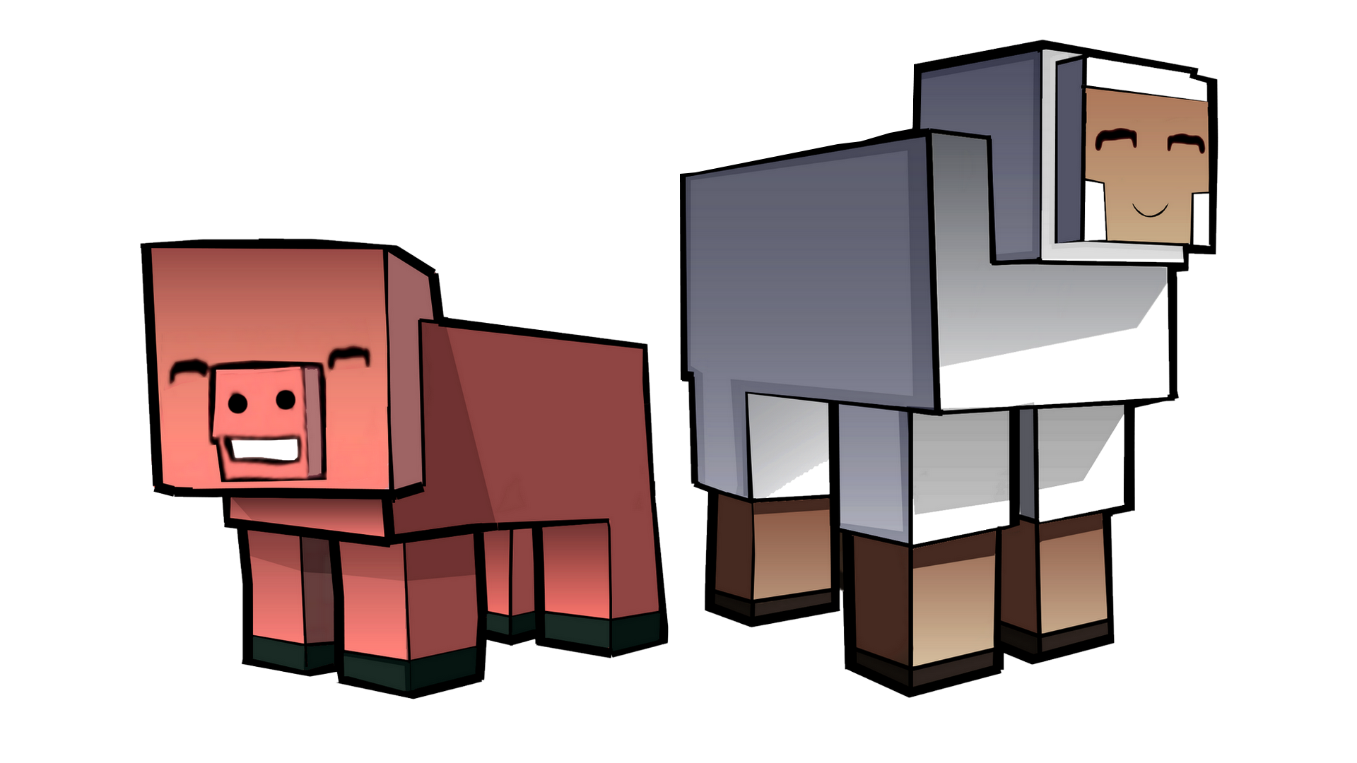 Minecraft Pig and Sheep by Enr1