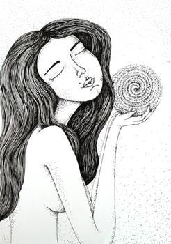 Ink illustration, Girl