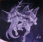 Deuling Dragons Etching by ckatt01
