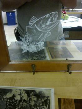 Bass Etching on Mirror