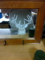 Deer Etching on Mirror