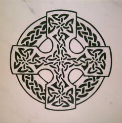 Celtic Cross - 1 Foot Marble Tile Plaque
