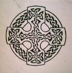 Celtic Cross - 1 Foot Marble Tile Plaque by ckatt01