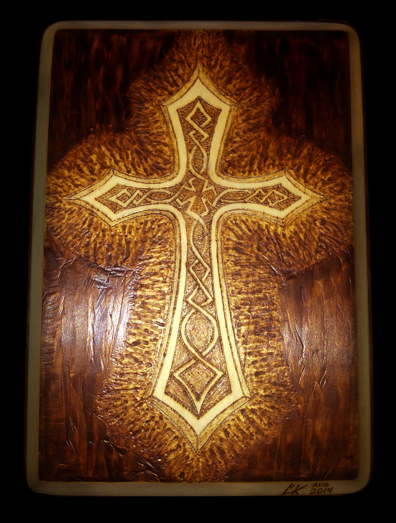 Radiant Celtic Cross - Pyrography by ckatt01