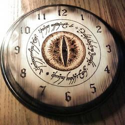 The Eye of Mordor Clock - wood burning by ckatt01