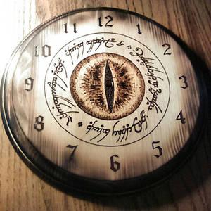 The Eye of Mordor Clock - wood burning