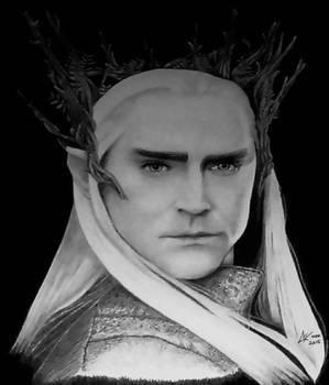 Thranduil, The Hobbit - graphite portrait bw