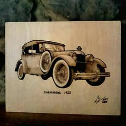 1923 Deusenberg - pyrography