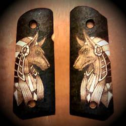 Anubis 1911 gun grips - pyrography