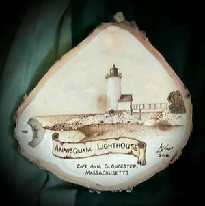 Annisquam Lighthouse - pyrography