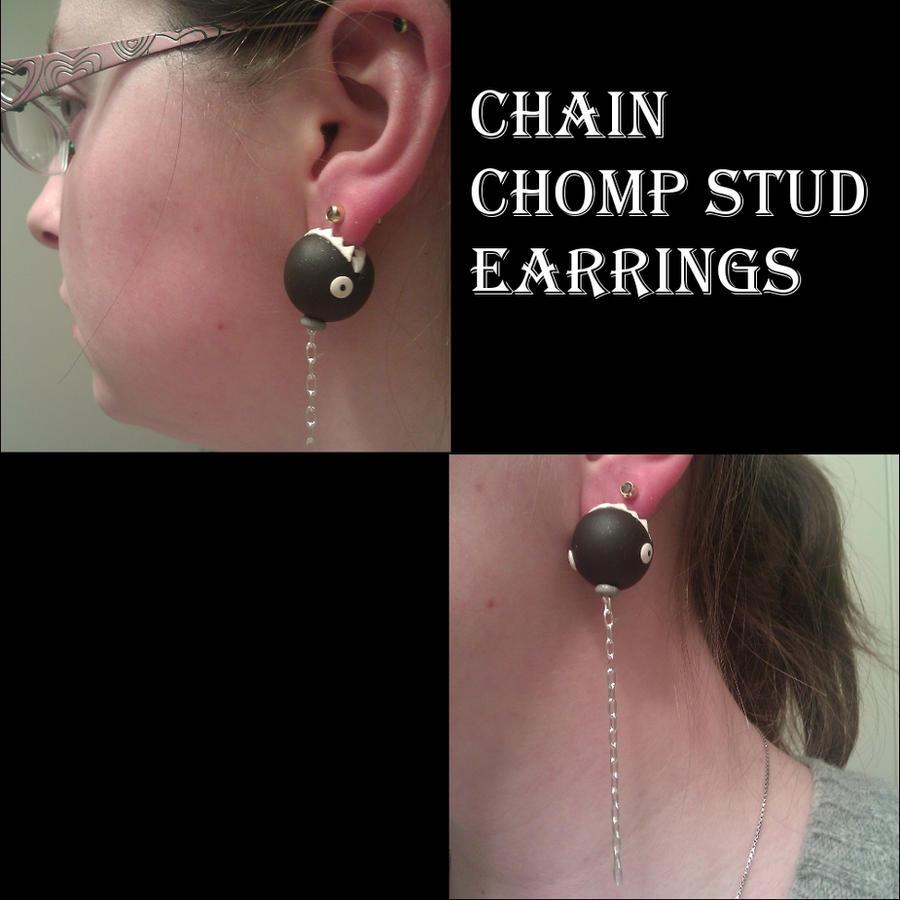 Chain Chomp Stud Earrings by FallenAngelKrisi