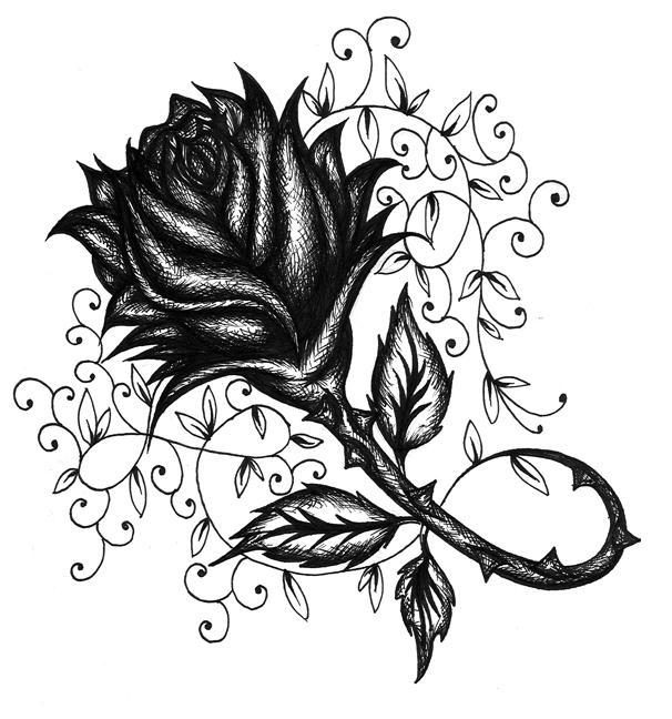 Crosshatched Rose Vine by 13starRose Vine Drawing Tattoo
