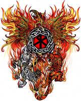 Wolf-Tiger-Phoenix Tattoo by 13star