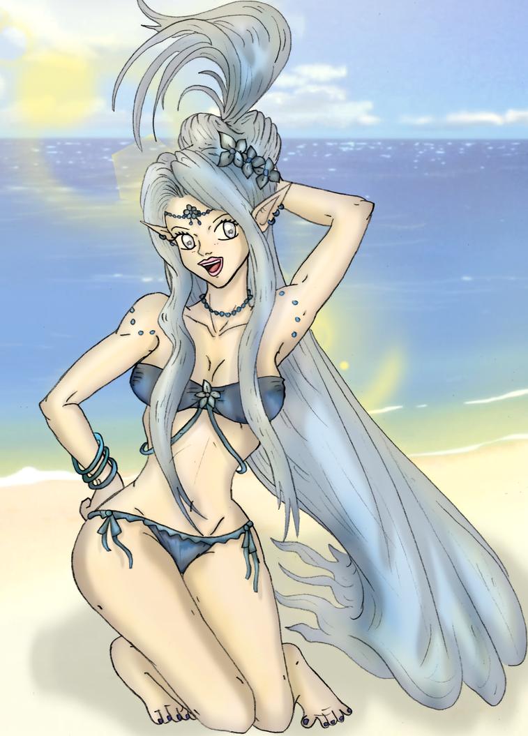 Joyce at the Beach by renezinha