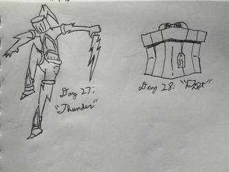 Inktober 2018, Days 27 and 28: Thunder and Gift