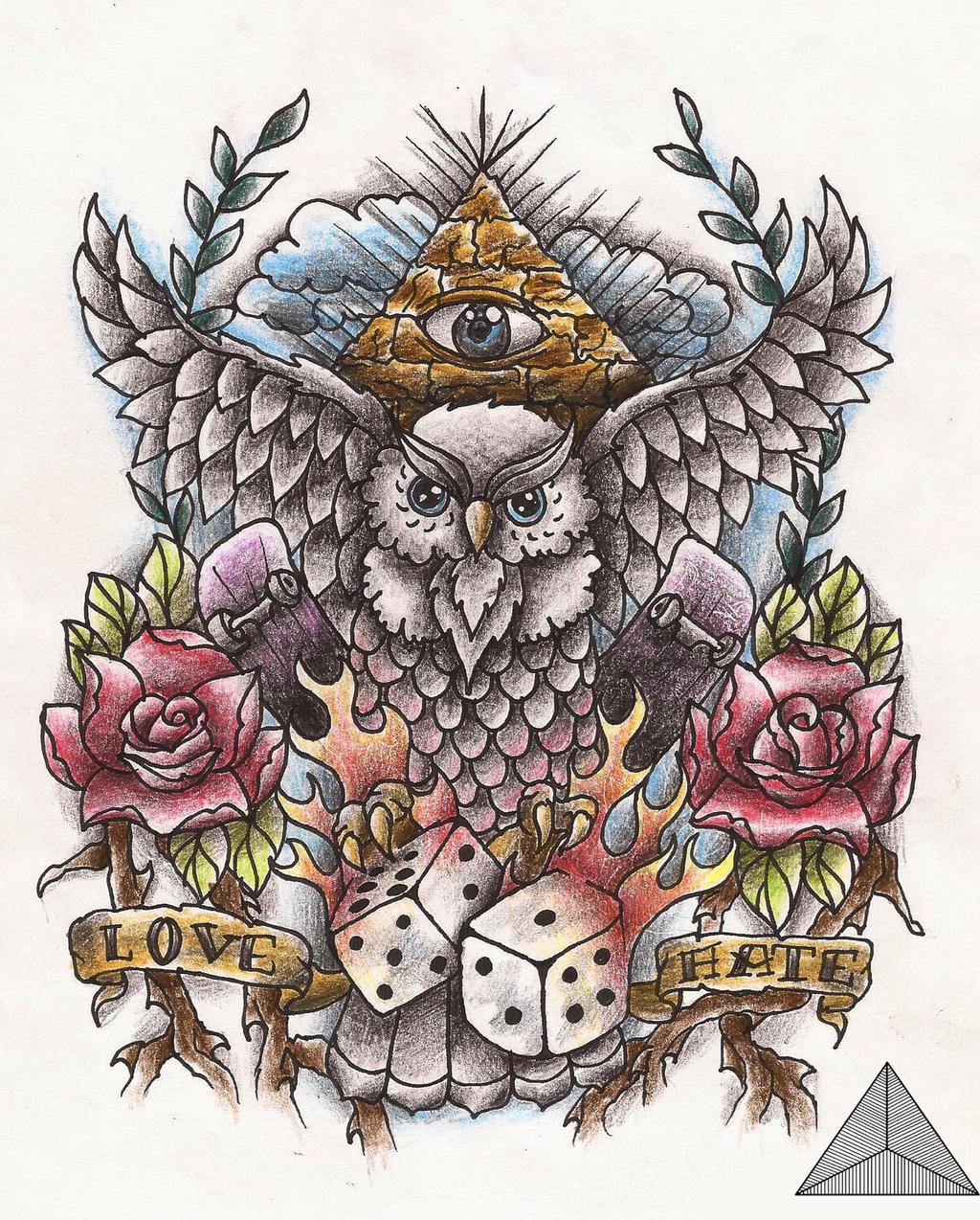owl old school tattoo design by sarahannymermans on deviantart. Black Bedroom Furniture Sets. Home Design Ideas