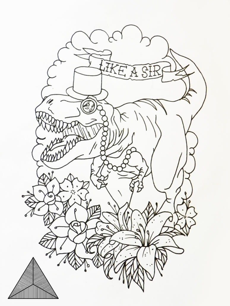 Tattoo Line Drawing Software : Dinosaur tattoo design by sarahannymermans on deviantart