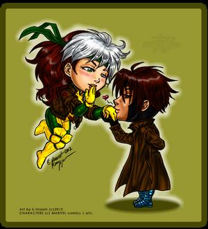 Rogue 'n' Gambit +chibis+