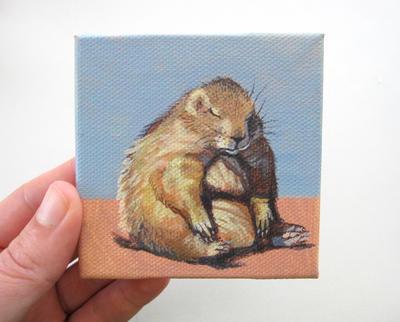 Prairie Dog Pudge - Original acrylic painting by Blue-MonsterOwO