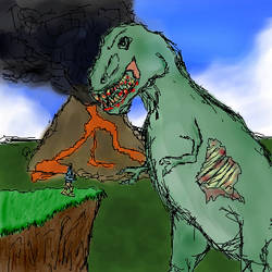 Zombie T-Rex Knife fight by AnonymousPosterChild