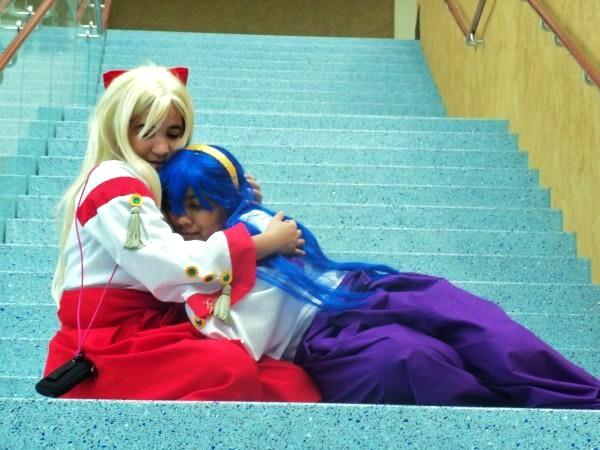 Blue_hair cosplay hairband himemiya_chikane kannazuki_no_miko miko robes saya