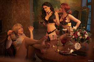Sorceresses party (Witcher cosplay frame 11) by Lyumos