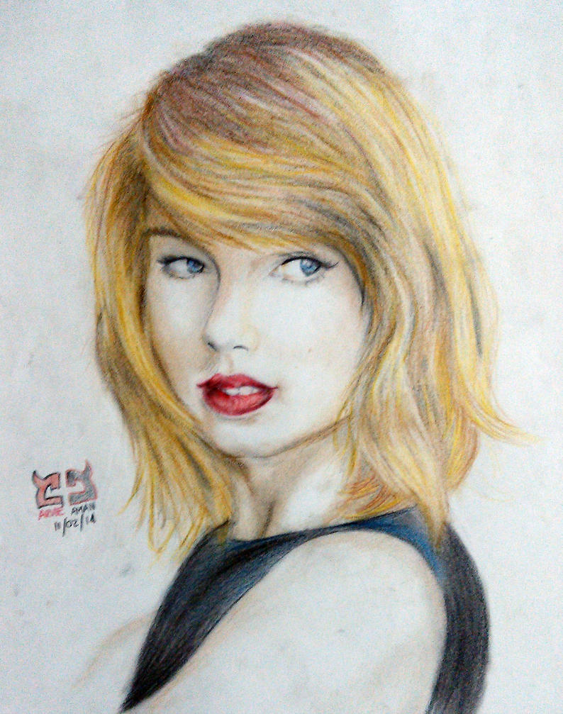 Drawing Lines With Swift : Taylor swift colored pencil drawing by weeee on deviantart