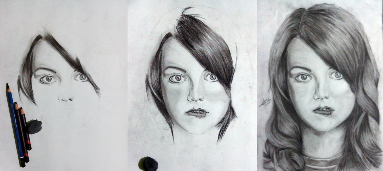 Emma Stone (Charcoal Drawin) by weeee99