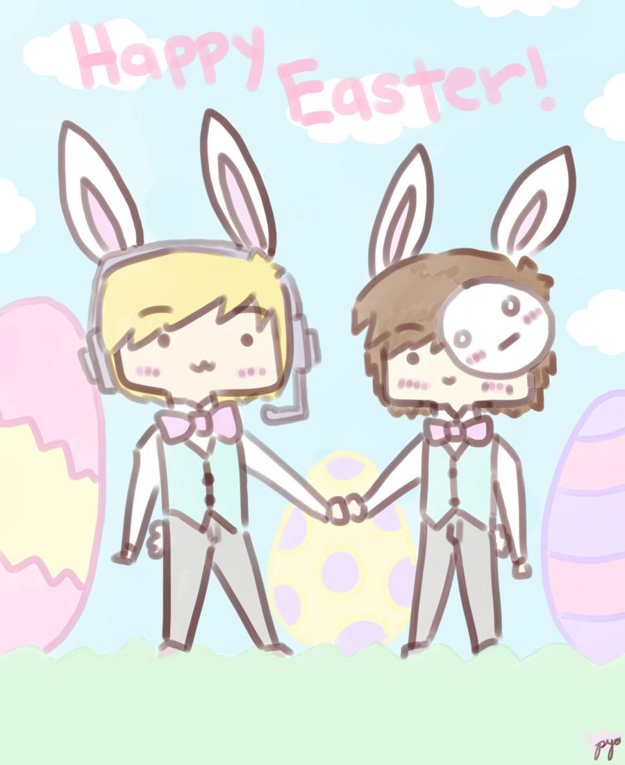 Happy Easter! w/ Pewdiepie and Cry by pyohappy on DeviantArt