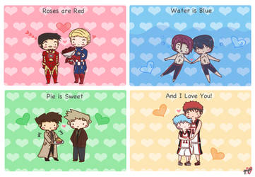 Roses are Red... [Stony/RinHaru/Destiel/KagaKuro] by pyohappy
