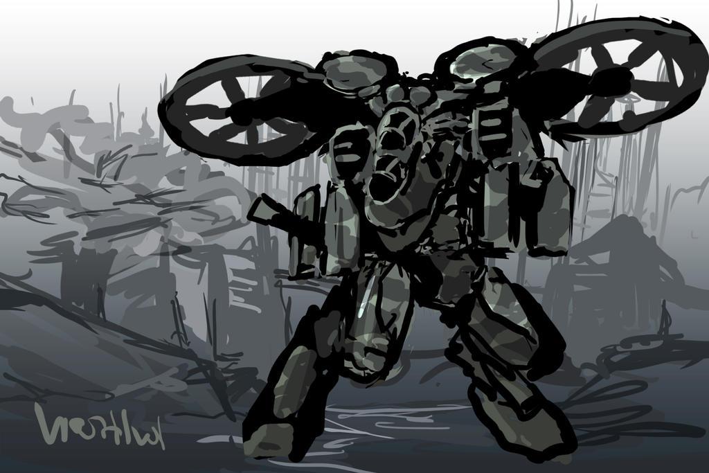Skimmer battleframe - sketch by TheDrowningEarth