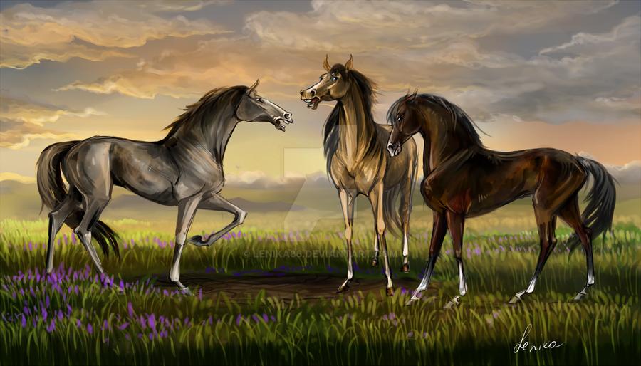 Three horses by Lenika86