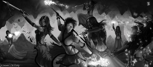 Elementalist versus Mesmer - Guild Wars 2 Fan Art by SkavenZverov